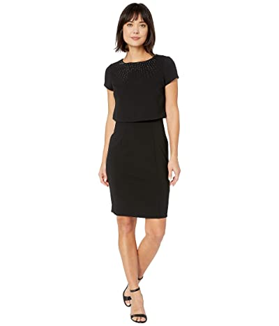 Adrianna Papell Embellished Popover Sheath Dress (Black) Women