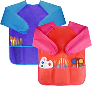 Best Bassion Pack of 2 Kids Art Smocks, Children Waterproof Artist Painting Aprons Long Sleeve with 3 Pockets for Age 2-6 Years Review