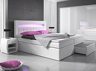 Lit sommier tapissier avec tiroir, lumière LED tête de lit, en cuir synthétique, lit d'hôtel, re...