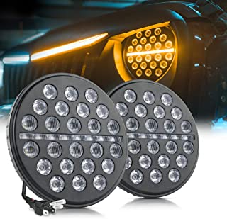 MICTUNING 7 Inch Round 80w LED Headlights with High Low Beam, DRL, Dynamic Amber Turn Signal for Jeep Wrangler JK LJ TJ Black (2 Pack)