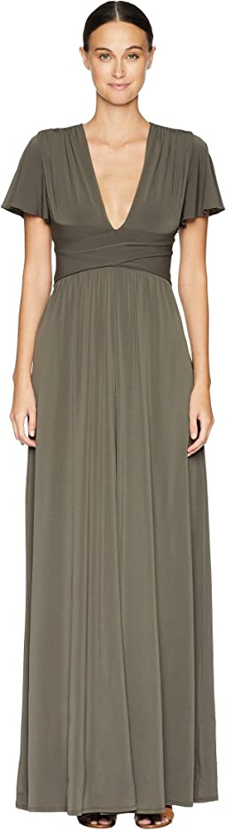Flutter Short Sleeve Deep V-Neck Wrap Jersey Gown