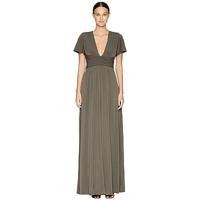Halston Heritage Flutter Short Sleeve Deep V-Neck Wrap Jersey Gown (Sage) Women