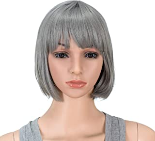SWACC 10 Inch Short Straight Bob Wig with Bangs Synthetic Colorful Cosplay Daily Party Flapper Wig for Women and Kids with Wig Cap (Dark Sliver Gray)