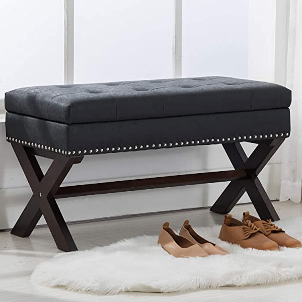 PU Leather Storage Entryway Bench Faux Leather Upholstered 36 Inch Bedroom Bench Seat With X Shaped Wood Legs For Living Room Foyer Or Hallway By Chairus Black
