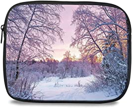 Landscape Tablet Sleeve Case Pocket Bag,Winter Season Themed Dried Abandoned Braches Snowy Sunset Scenery Image for School Office,Compatible with 9.7 Inch iPad Air 2,iPad 1/2/3/4/5/6