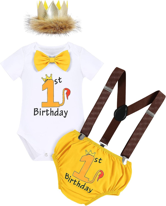 FYMNSI Bebé Niño 1º Cumpleaños Conjunto, Pelele + Pantalones Cortos + Tirantes + Diadema de Corona 4 Piezas 6-18 Meses