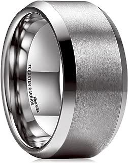 Basic 10mm Tungsten Carbide Ring for Men Matte Polished Wedding Engagement Band Comfort Fit