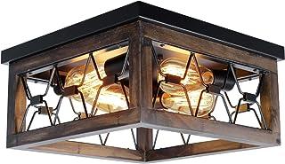 PUZHI HOME Farmhouse Wood Flush Mount Ceiling Light,...