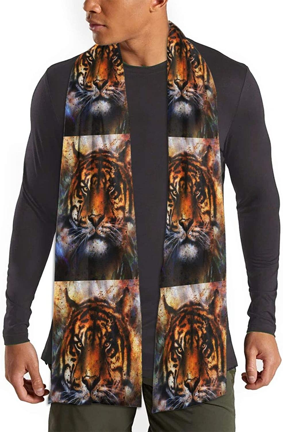 Womens Winter Scarf Portrait Tiger Face Wraps Warm Pashmina Shawls Gift Reversible Soft For Girls
