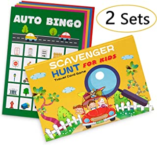 2 Sets Road Trip Card Games - Travel Scavenger Hunt and Auto Bingo - Fun for Kids Families