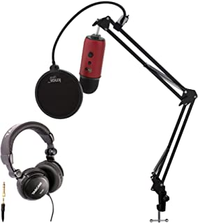 Blue Yeti Red USB Microphone with Knox Studio Stand, Studio Headphones and Pop Filter