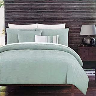Tahari 3 Pc Duvet Quilt Cover Set Retro Style Aqua Green Cream Chambray Pattern with Ruched Textured Folds 100% Cotton Luxury - Nora, Green (Full/Queen)