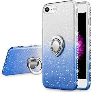 VEGO Case Compatible with iPhone 7, Glitter Case for Girls Women Fancy Cute Fashion Sparkling Bling Rhinestone with Kickstand Ring Holder for iPhone 7(Silver Blue)