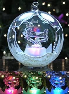BANBERRY DESIGNS LED Reindeer Christmas Ornament Color Changing Lights Hand Painted Glitter Snowflakes 3.5