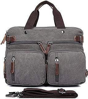 Hybrid Multifunction Handbag Messenger Bag Laptop Backpack with Shoulder Bag Multi-Functional Business Briefcase Canvas College School Computer Bag for Women & Men Fits 17.3 Inch by Gudui