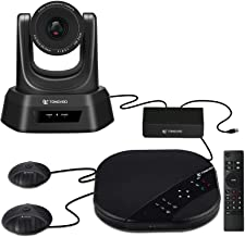 TONGVEO Conference Room Camera System with Speaker and 2 Microphones All-in-One USB PTZ Camera HD 1080P 10X Zoom Webcam fo...