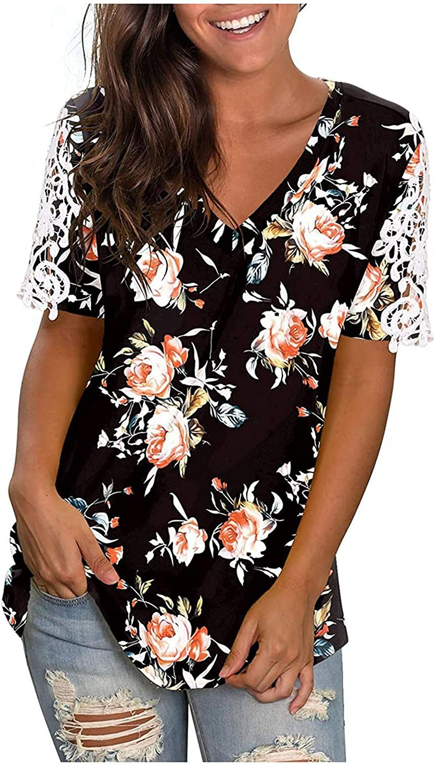Teprec Summer Tops for Women, Womens Casual Floral V Neck Short Sleeve T-Shirts Plus Size Tops Blouse Basic Tunic Tee