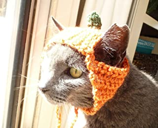 Halloween Pumpkin Cat Costume Pet Costume Crochet Pattern Thanksgiving Dog Hat Cat Clothes for Cats Crochet Cat Hat Pattern Cute Cat Outfit