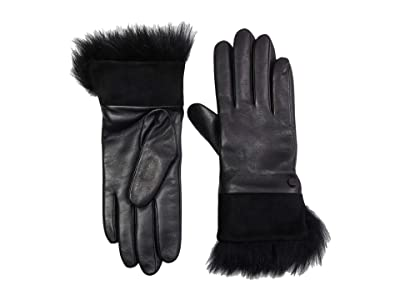 UGG Leather with Suede and Fur Cuff Tech Gloves (Black) Extreme Cold Weather Gloves