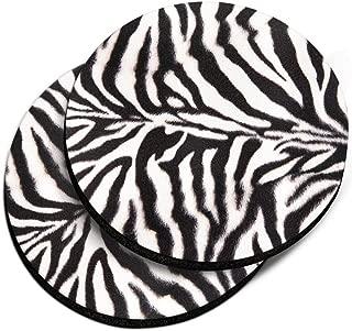 CARIBOU Coasters, Zebra Stripes Skin Pattern Design Absorbent ROUND Fabric Felt Neoprene Car Coasters for Drinks (2.87 inches), 2pcs Set