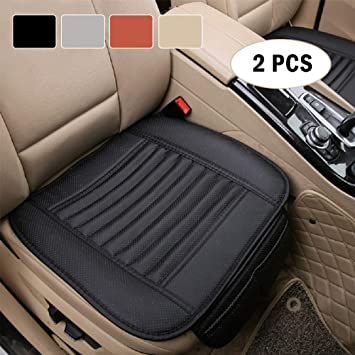 Premium PU Leather Car Seat Cover - Car Front Seat Cushion Cover Pad Mat Protector Filling Bamboo Charcoal, Fit 95% of Vehicles, Non-Slip Bottom & Storage Pockets - 21.26'' x 18.90'' - 2 Piece, Black