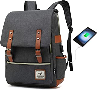 HITOP College Backpack, Vintage Fashion Laptop Travel Bag for Women Men Fits 15.6 Inch Laptop and Notebook (Black USB)