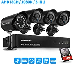 FLOUREON House Security Camera System 1080N DVR + 4 Pack 1.0MP CMOS Lens CCTV Security Camera 1500TVL Night Vision Remote Access Motion Detection (8CH 1080N AHD 1500TVL+1 TB HDD)