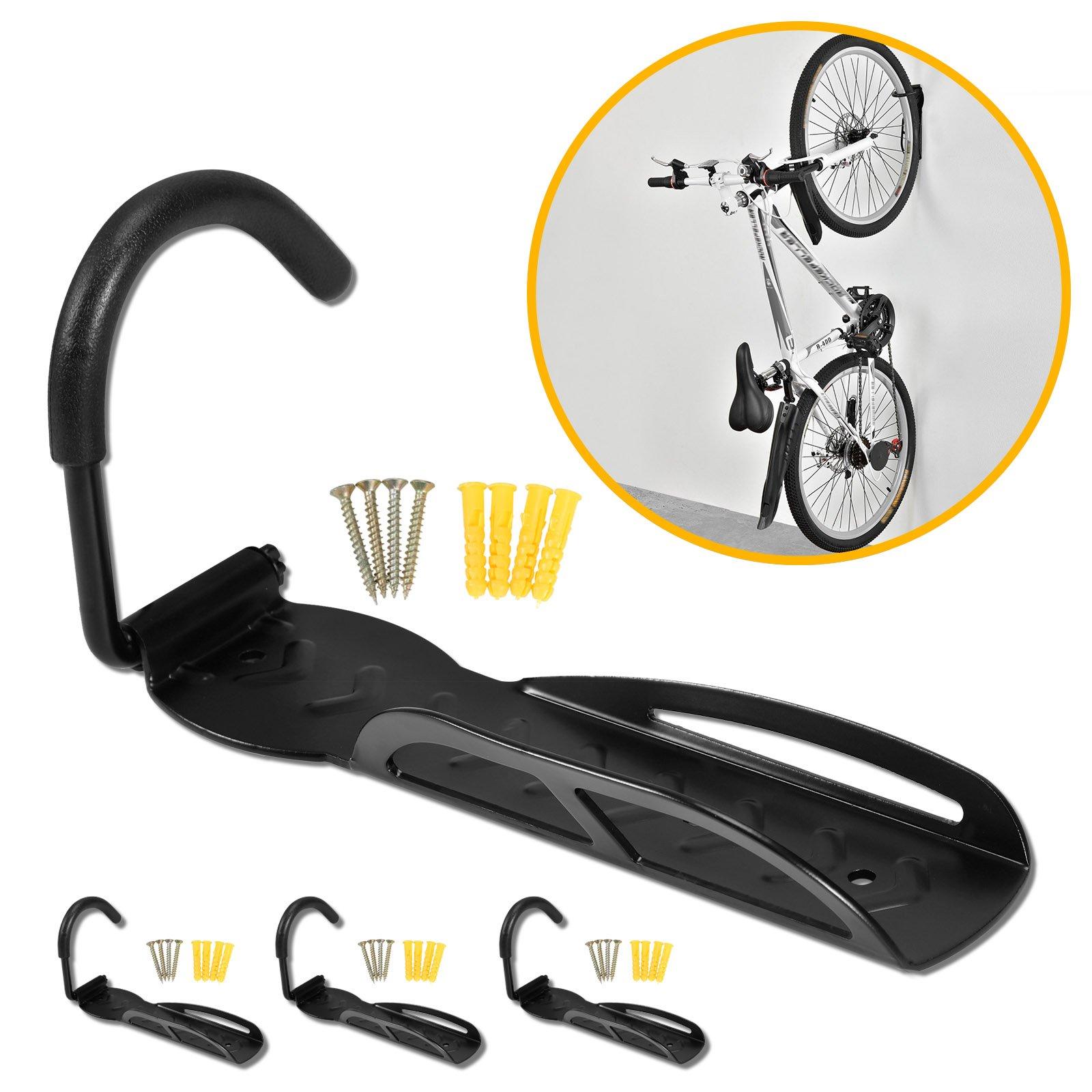 voilamart 4 x soporte de pared bicicleta gancho Soporte de pared bicicleta suspensión para colgar negro: Amazon.es: Deportes y aire libre