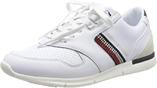 TOMMY HILFIGER Women's Crystal Leather Trainers White