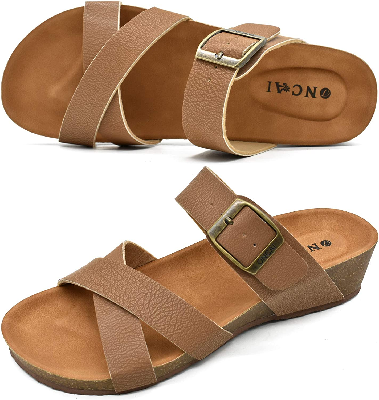 ONCAI Women's 5 ☆ popular Bargain sale Platform Sandals Fashion Beac Toe Cross Criss Open