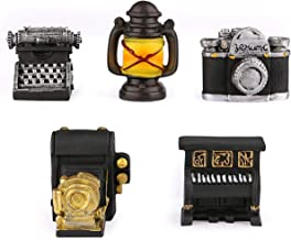 Dedoot Resin Camera Decor, Set of 5 Mini Vintage Resin Ornament Decoration Retro Camera Video Recorder Typewriter Piano Kerosene Lamp Figurine for Photo Props Home Tabletop Decor