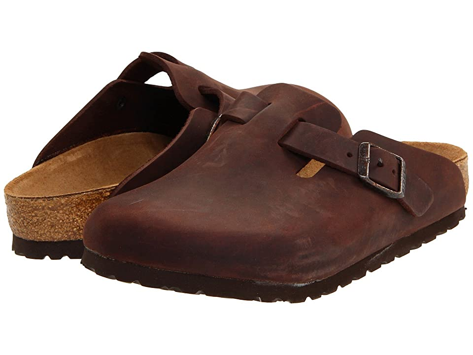 Retro Vintage Flats and Low Heel Shoes Birkenstock Boston - Oiled Leather Unisex Habana Oiled Leather Clog Shoes $129.95 AT vintagedancer.com