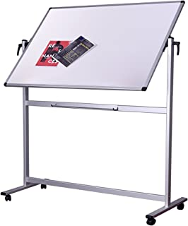 Dexboard Double Sided Aluminum Large Magnetic Mobile Dry Erase Board 60 x 40 Inch, Large Rolling Reversible Presentation Whiteboard on Stand Wheels for Home, Office, Classroom