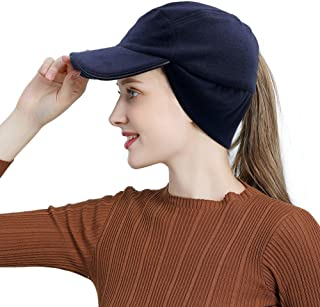 Lvaiz Womens WinterFleece Ponytail Cap with Drop Down Ear Warmer Messy Bun Baseball hat