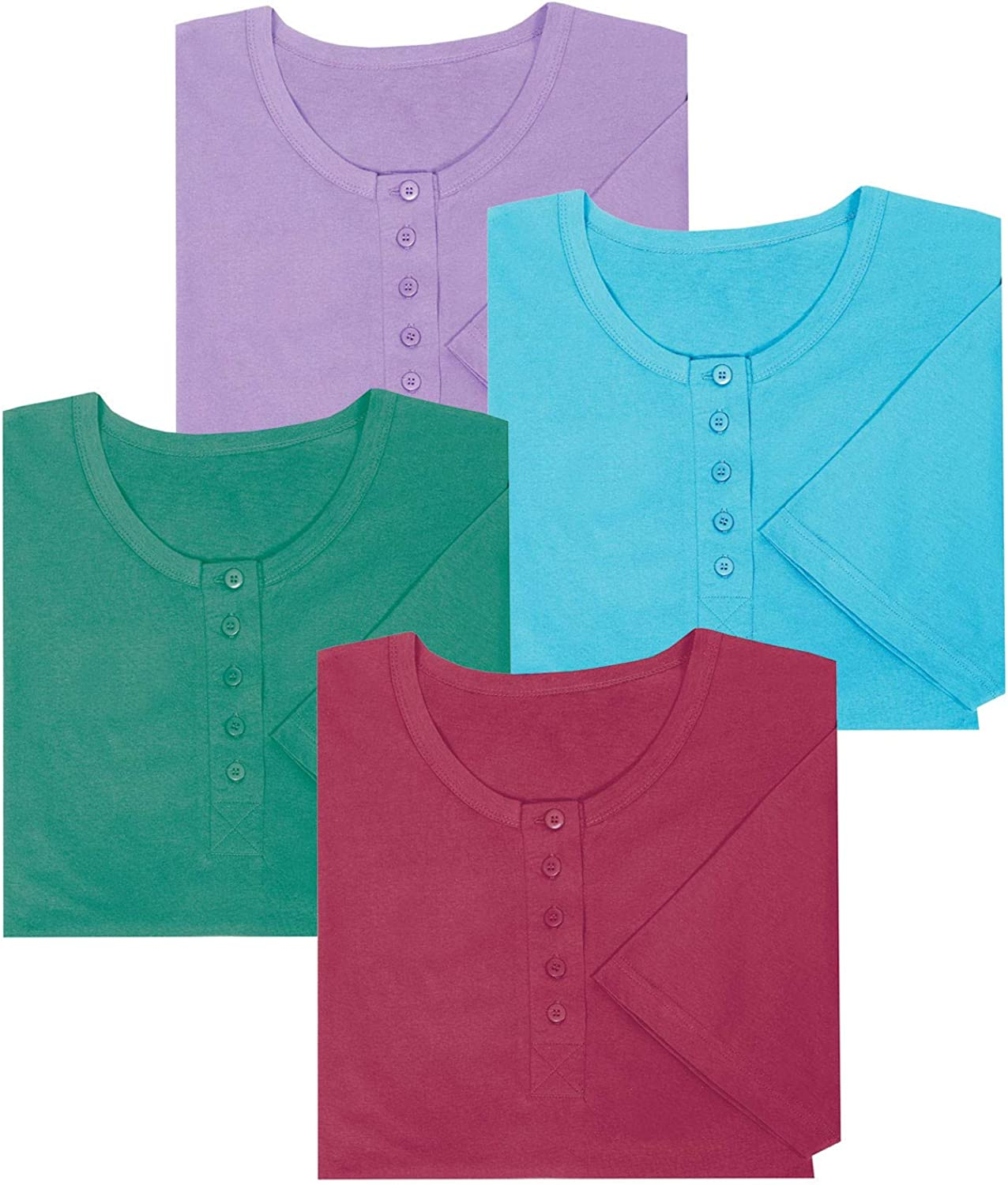 Catalog Classics quality assurance Deluxe Women's Long Henley Nightshirts Slee 4 Set - of