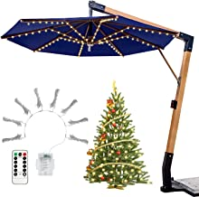 SYIHLON 104LEDs Patio Umbrella Lights,8 Mode IP67 Waterproof Battery Operated Fairy String Lights with Remote for Wedding Christmas Tree Kids Teepee Bedroom Outdoor Indoor DIY Decor