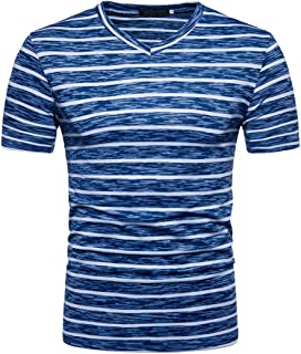 GREFER Men's 2018 Summer Casual Stripe Print V Neck Pullover T-Shirt Top Blouse