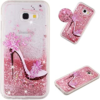 MEIKONST Galaxy A5 2017 case, Clear Soft TPU Pink High Heels Stylish Design with Hearts Glitter Bling Quicksand Shiny Flow...