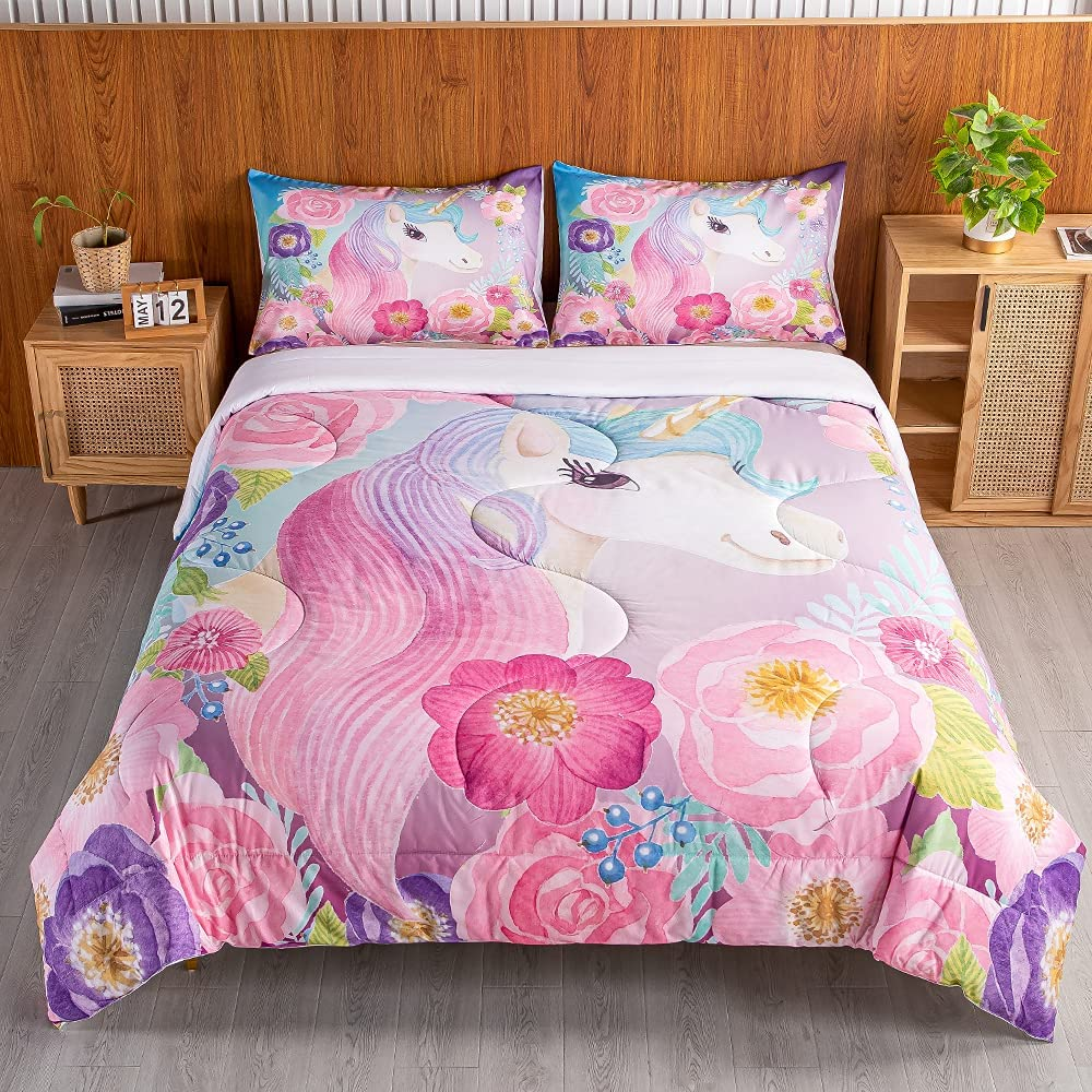 SweetDreaming Mail order cheap Kids Flowers Unicorn Twin Comforter Sale item Bed Sets Girls
