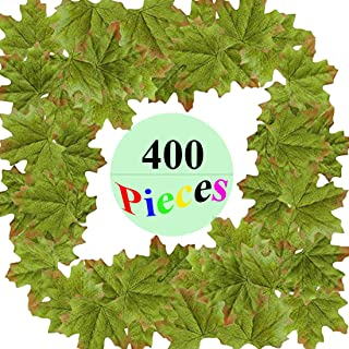 MerryNine Artificial Maple Leaves Green, Autumn Fall Leaves Bulk Assorted Multicolor Mixed Garland Wedding House Decorations (Maple Leaves-400pcs, Green)