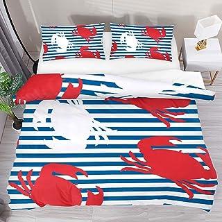 jonycm 3-Piece Bedspread Set Rojo Blanco Cangrejo Rayas Azules 3 Piezas Moderno Personalizar Colcha Edredón con 2 Fundas De Almohada 1 Funda Nórdica Juego De Cama Funda Nórdica Conjunto 177X218Cm