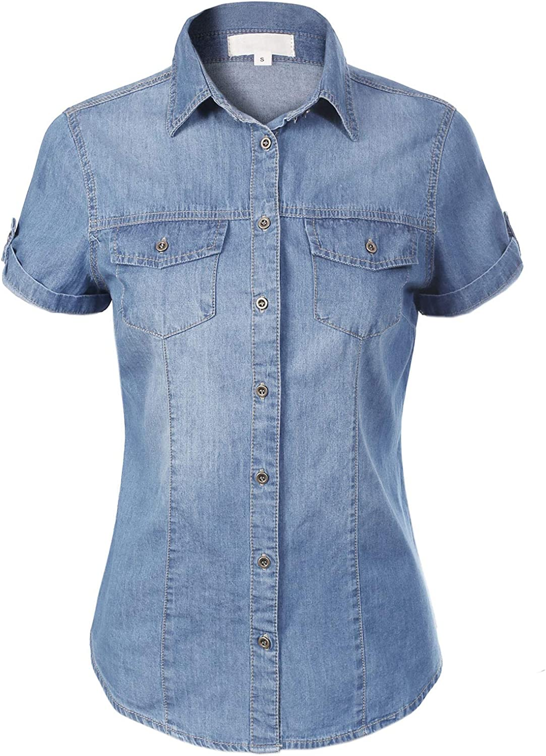 Design Special Max 78% OFF sale item by Olivia Women's Cap Sleeve Chambray Down Button Denim S
