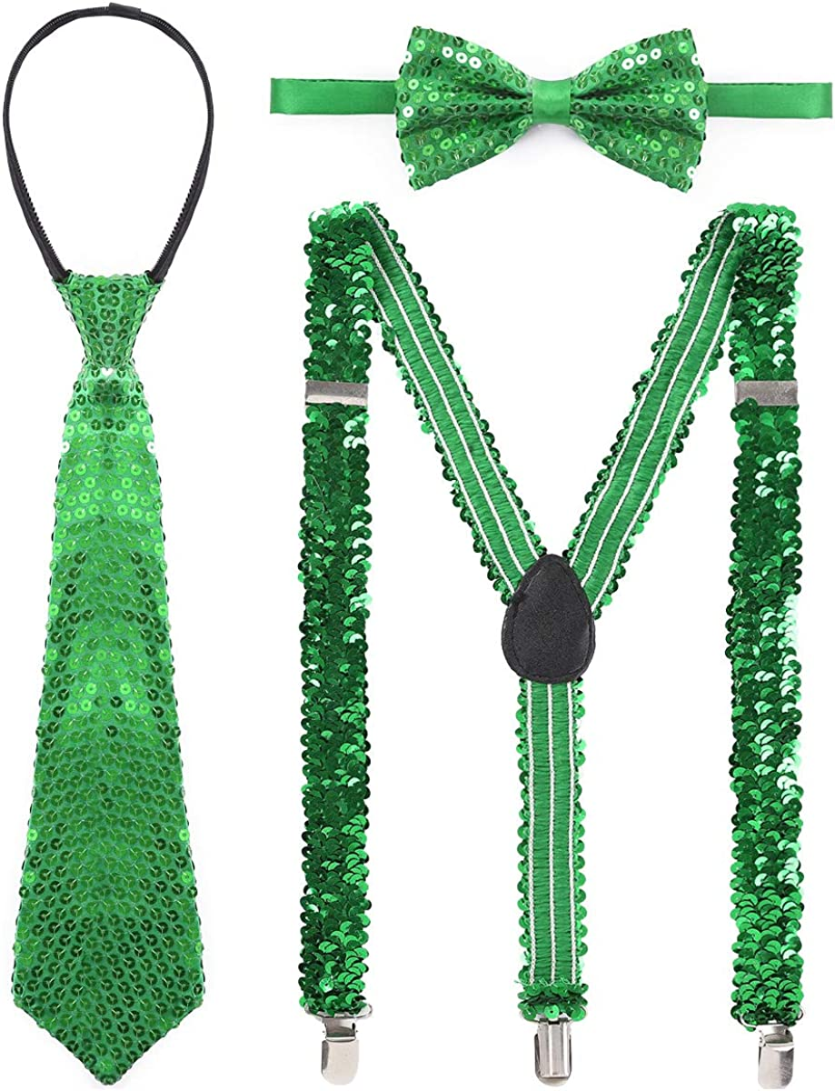 YOOJIA 3Pcs Adult Shiny Sequins Braces Pants Suspenders Shoulder Straps with Necktie and Bow Tie