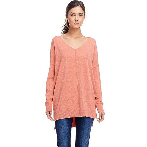 f5e32fd78 A+D Womens Oversized V-Neck Pullover Sweater Top W/Slight Hi-