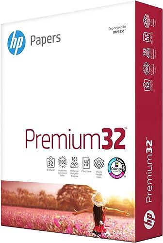 HP Printer Paper 8.5x11 Premium 32 lb 1 Ream 500 Sheets 100 Bright Made in USA FSC Certified Copy Paper HP Compatible...