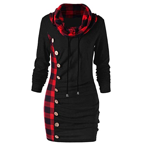 9f2b40bfe7 BeautyGal Women s Cowl Neck Plaid Drawstring Button Hoodie Tunic Sweatshirt