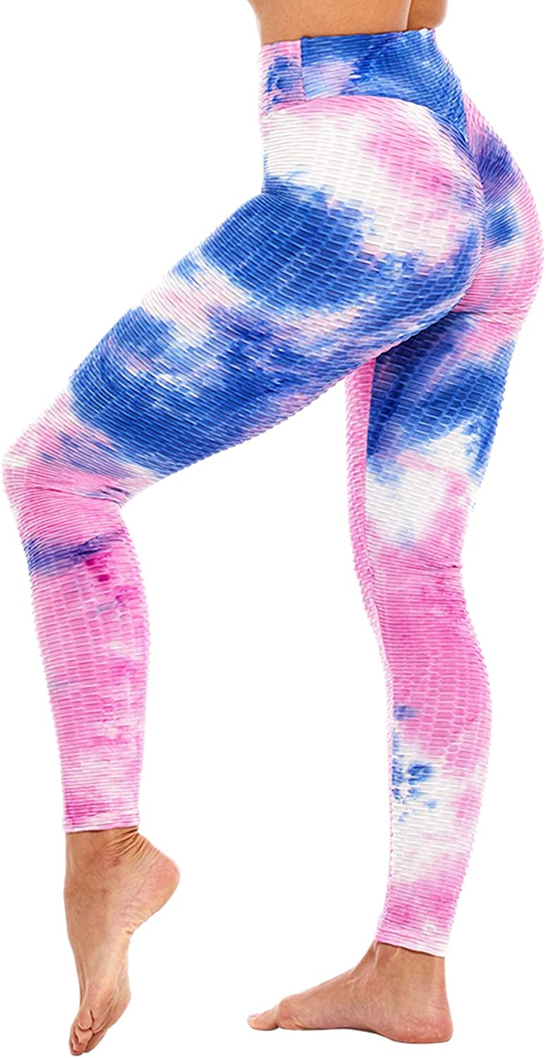 Womens Tie Dye High Waisted Ruched Leggings Translated Online limited product Yoga Control Tummy