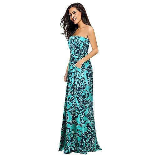 Flowy Strapless Printed Prom Dresses
