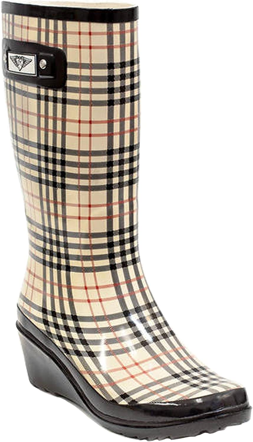 Forever Young Women's Plaid Print Tall Rubber Rain Boots