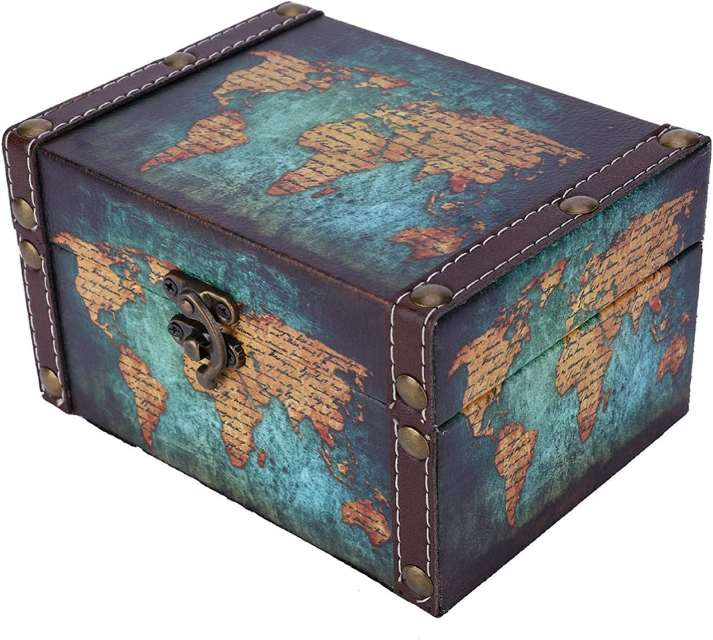 Cheap mail order Max 65% OFF sales Okuyonic Dust-Proof Jewelry Treasure Trinke Wooden Durable Chest